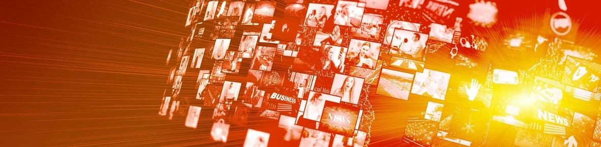 Themenbild Medienkompetenz Weltkugel mit vielen Videobildschirmen