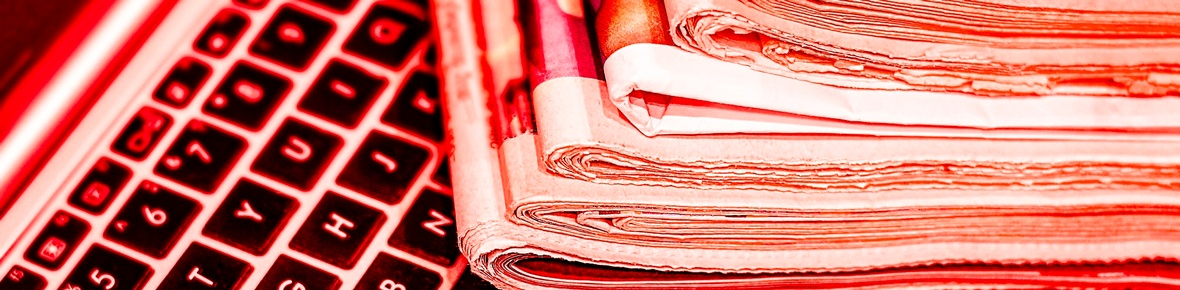 Themenbild Publizistikförderung Zeitungen Laptop