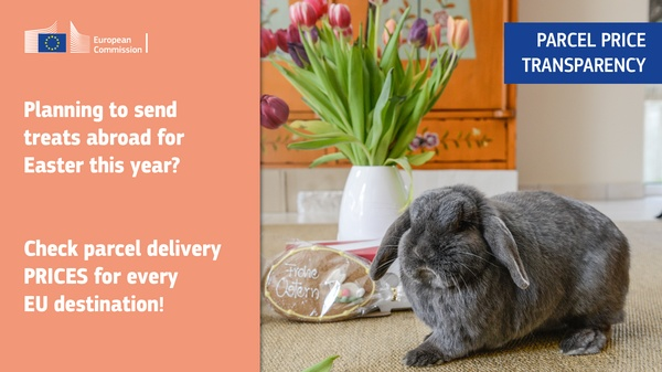 The picture shows an Easter bunny and Easter decorations. A lettering draws attention to the new price database for letters and parcels in the EU.