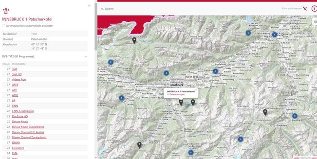 DVB-T/2-Programme Patscherkofel Innsbruck