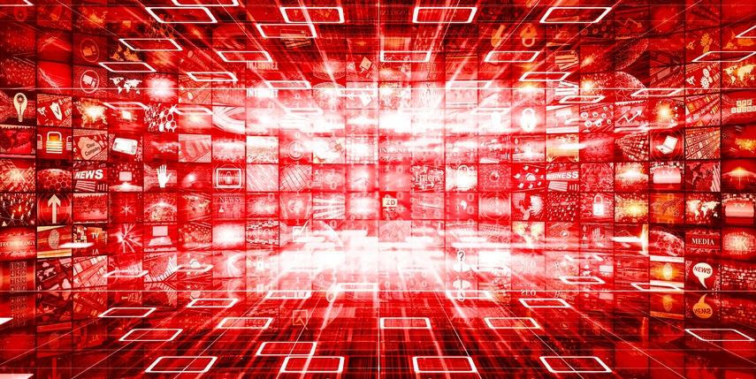 Themenbild Neuigkeiten viele Bildschirme fliegen durch den unendlichen, roten Raum